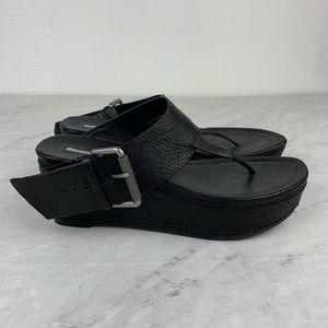 Vera Wang Lavender Black Leather Platform Sandals